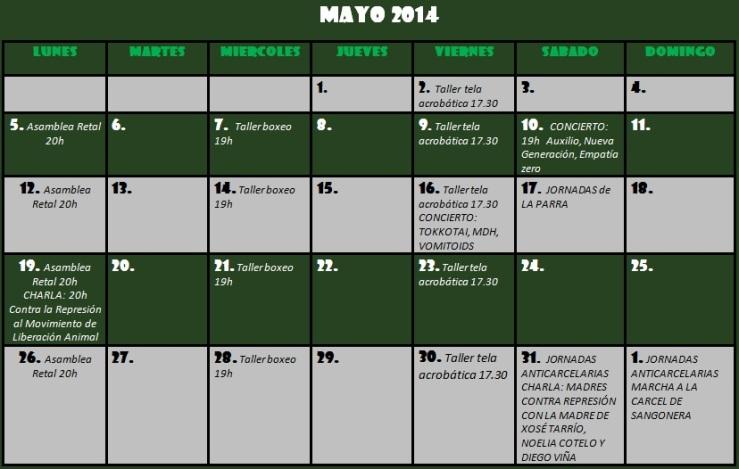 Calendario de  de mayo del CSO El Retal.